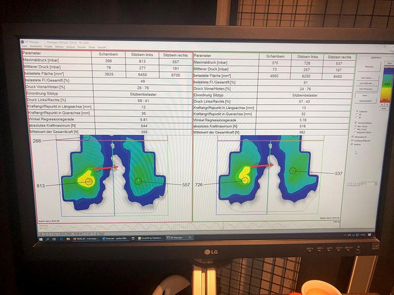 Satteldruckanalyse bei Pbike